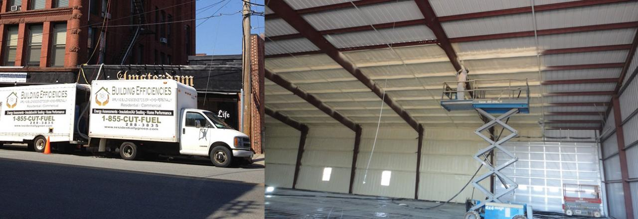 Cross Cut of Building Efficiencies Truck and Finished Spray Foam Work